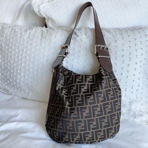 Fendi Zucca Logo Leather Shoulder Bag